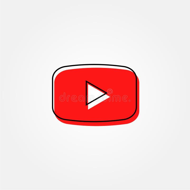 有边界线的样式储蓄传染媒介红色按钮youtube录影 库存例证