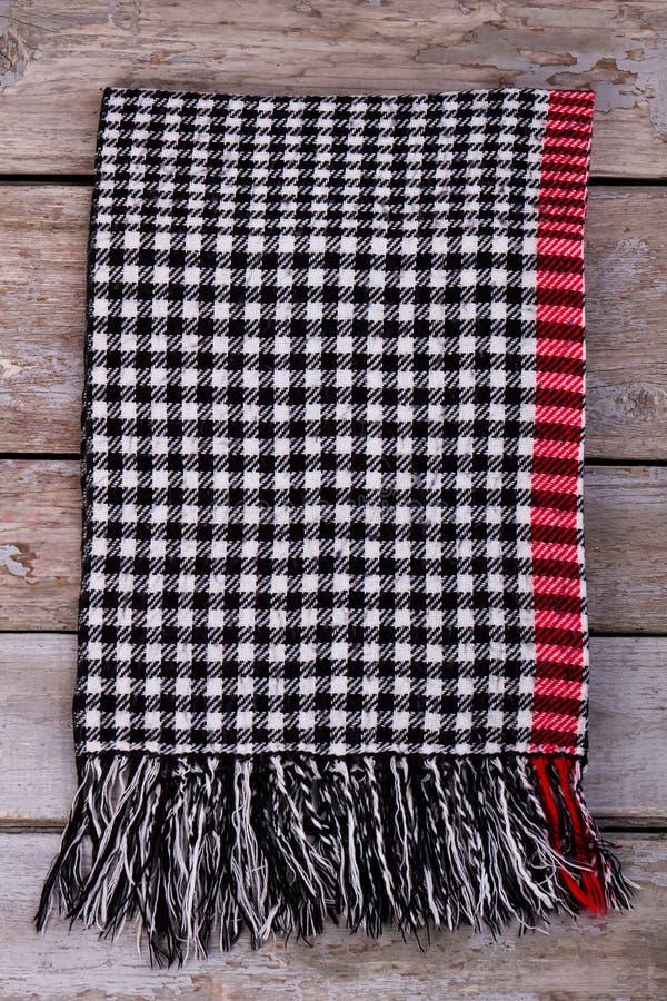 有边缘的冬天方格的围巾 免版税库存图片