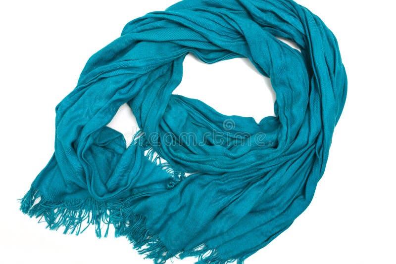 有边缘的蓝色丝绸围巾在白色背景 图库摄影