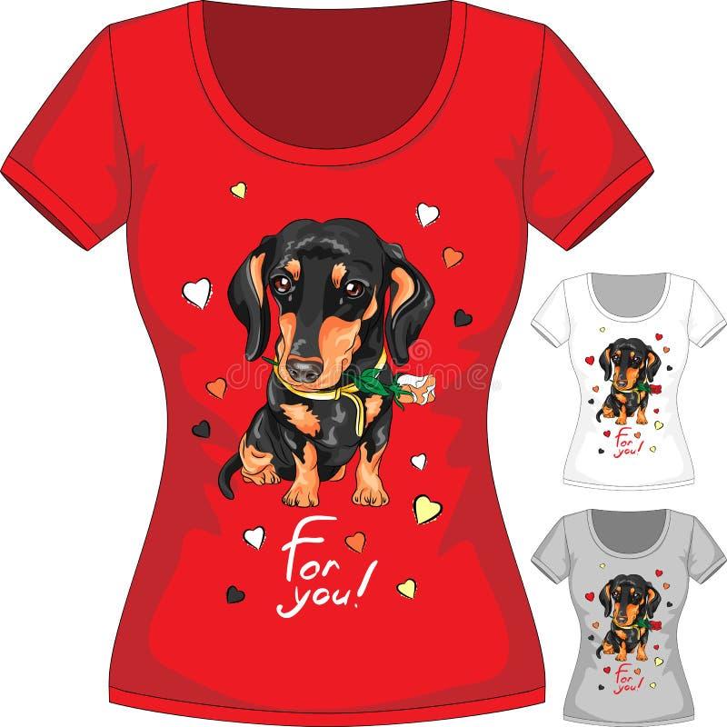 有达克斯猎犬和花的传染媒介T恤杉 向量例证