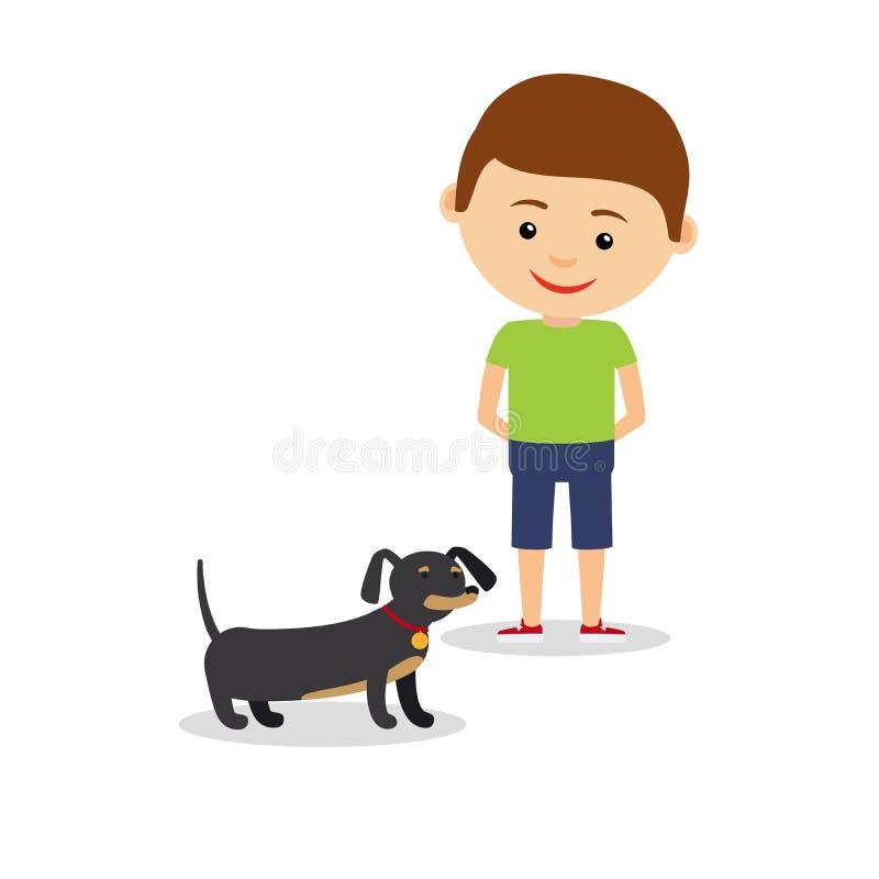有达克斯猎犬的小男孩 皇族释放例证