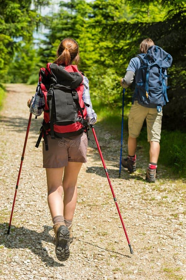 有迁徙的杆的年轻游人在森林 免版税库存照片