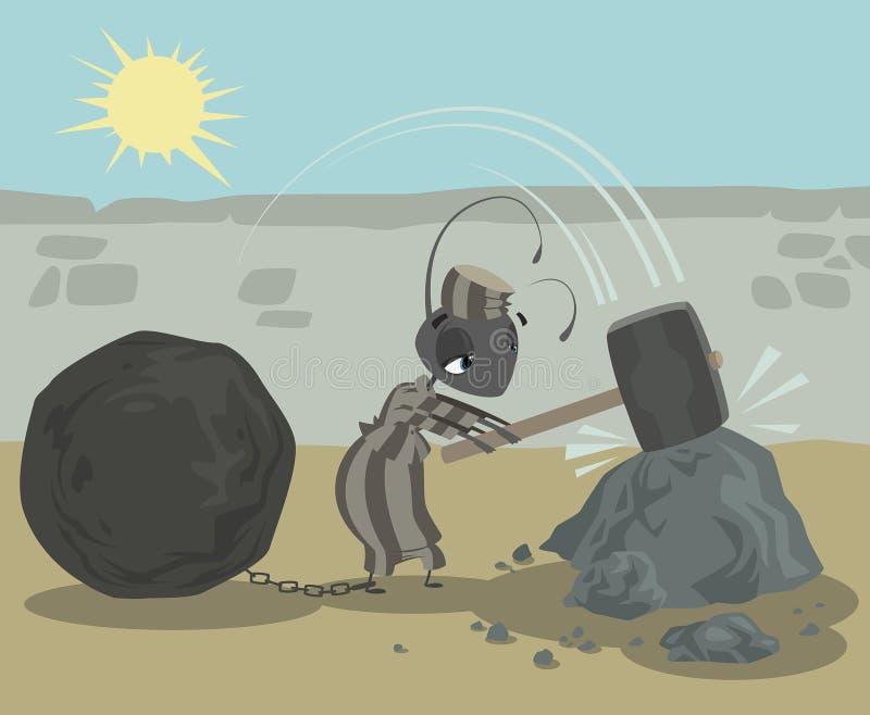 有运作艰苦打破的链子球的蚂蚁囚犯晃动 向量例证