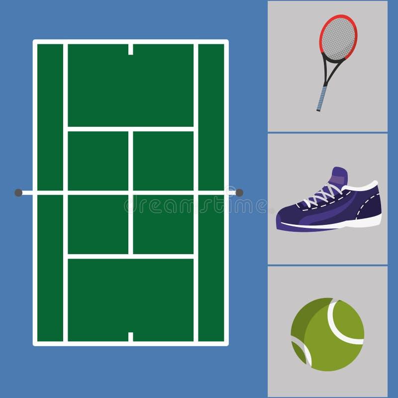 有运动鞋和球的网球场与球拍反对使用 库存例证