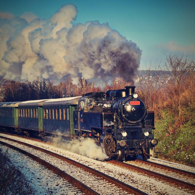 有运行在路轨的无盖货车的美丽的老蒸汽火车在日落 孩子和父母的游览在欢乐特别天 Cze 免版税图库摄影