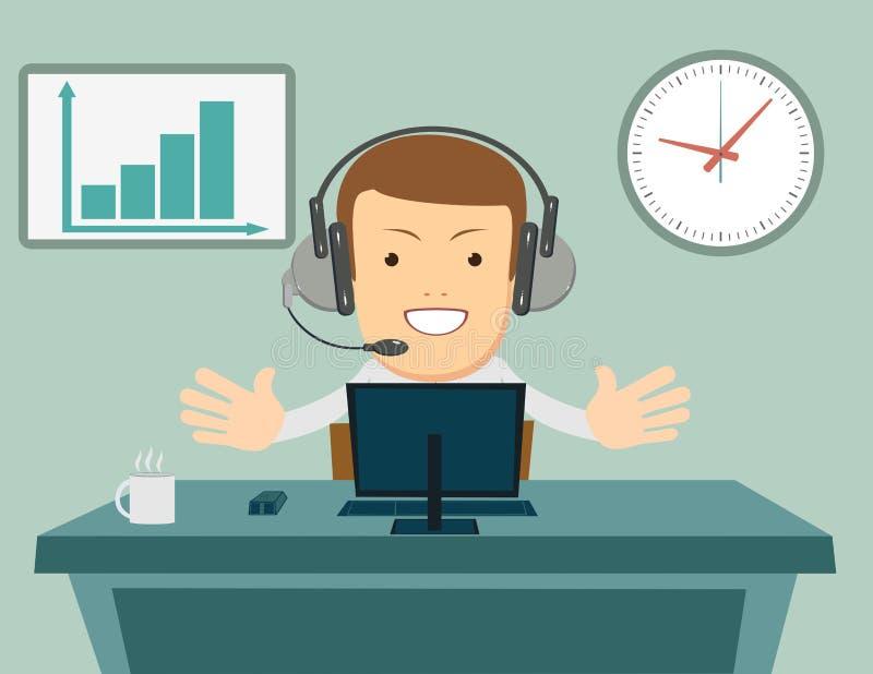 有运转在电话中心的耳机的微笑的男性操作员 顾客服务概念 皇族释放例证