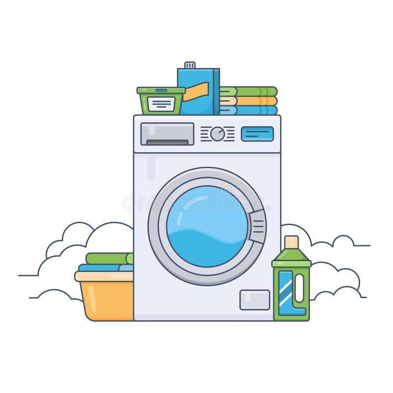有运转的洗衣机的洗衣房 向量例证