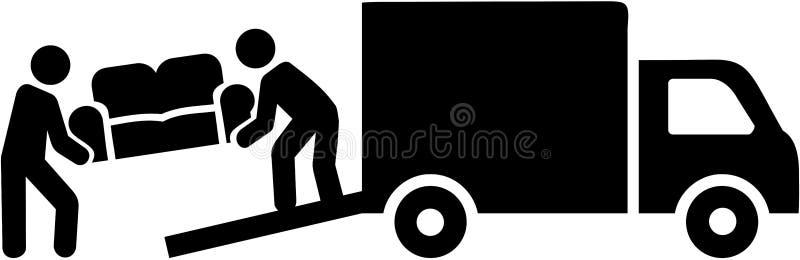 有运载沙发的卡车的去膜剂搬家工人 皇族释放例证