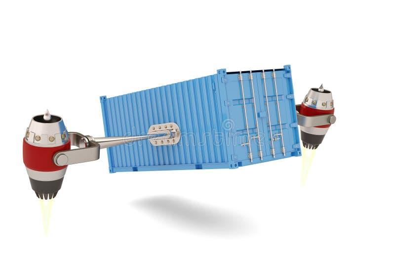 有运输货柜的喷气机引擎在白色背景 3d illu 库存例证
