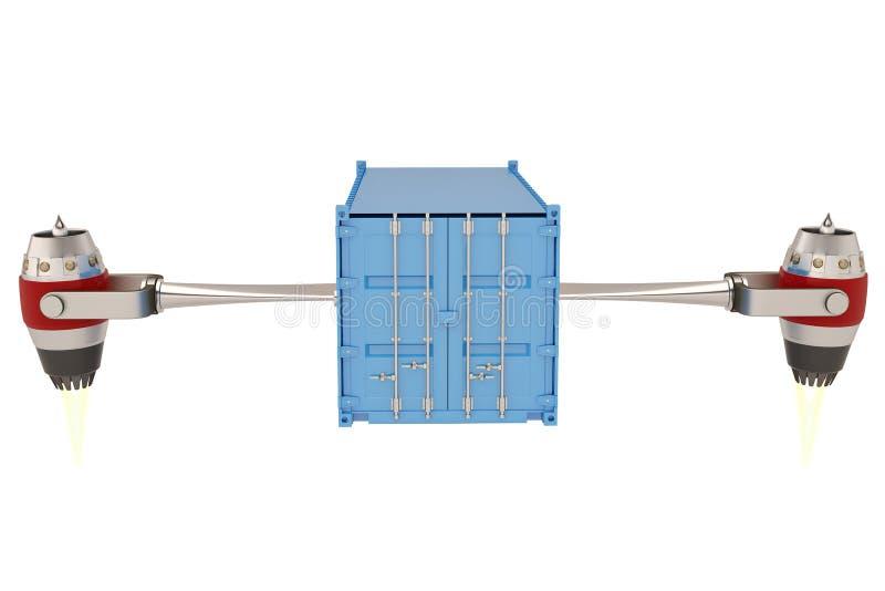 有运输货柜的喷气机引擎在白色背景 3d illu 向量例证