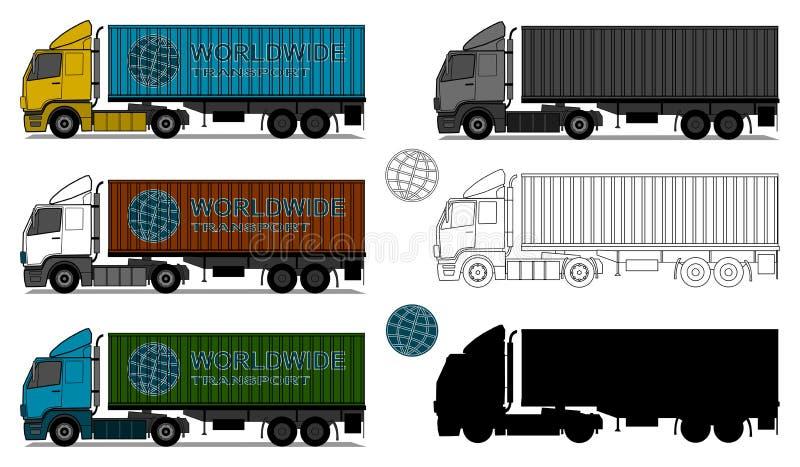 有运输货柜的卡车 皇族释放例证