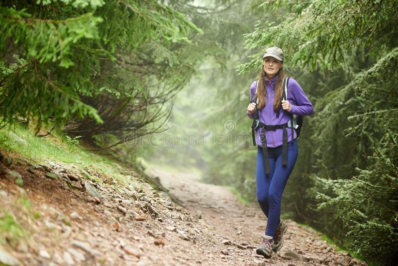 有远足入森林的背包的妇女 图库摄影