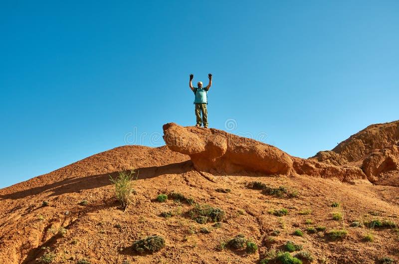 有远足在山上面的背包的白种人人  免版税库存照片