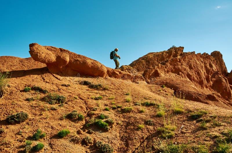 有远足在山上面的背包的白种人人  免版税图库摄影
