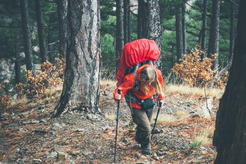 有远足在狂放的森林里的大背包的妇女旅客 免版税库存照片