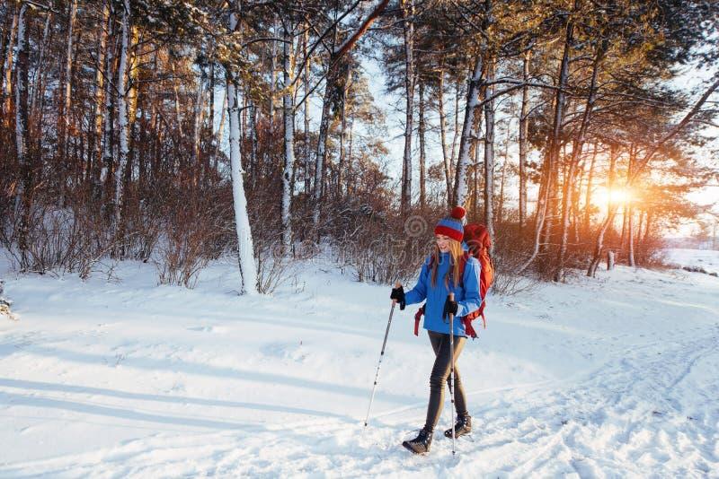 有远足旅行生活方式冒险概念活跃假期的背包的妇女旅客室外 美好的横向 库存照片