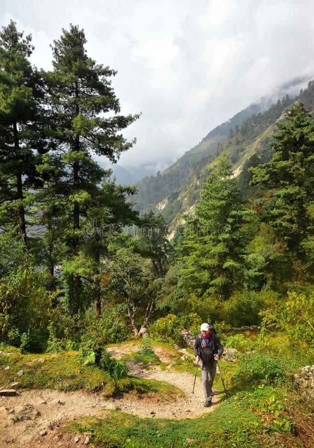 有远足的设备人走下来在山行迹的在期间 免版税库存照片