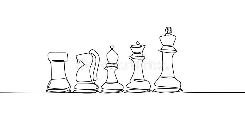 有连续的个别线路的图画在白色背景隔绝的传染媒介例证下象棋者 向量例证