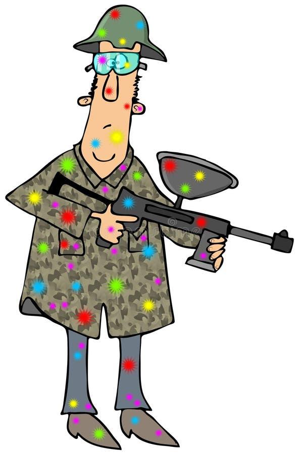 有迷彩漆弹运动枪的人 库存例证