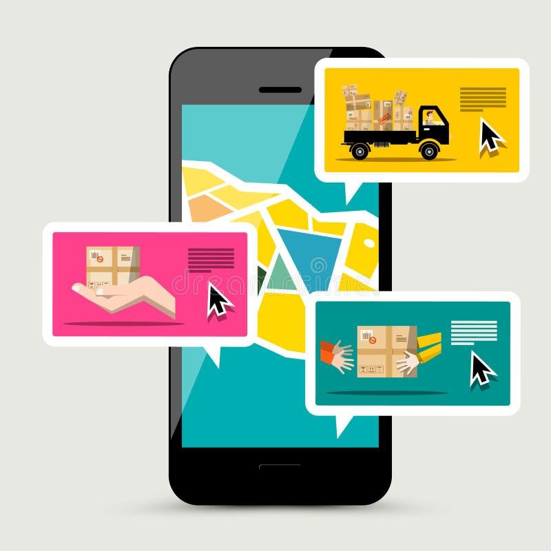 有送货服务应用程序的手机 向量例证