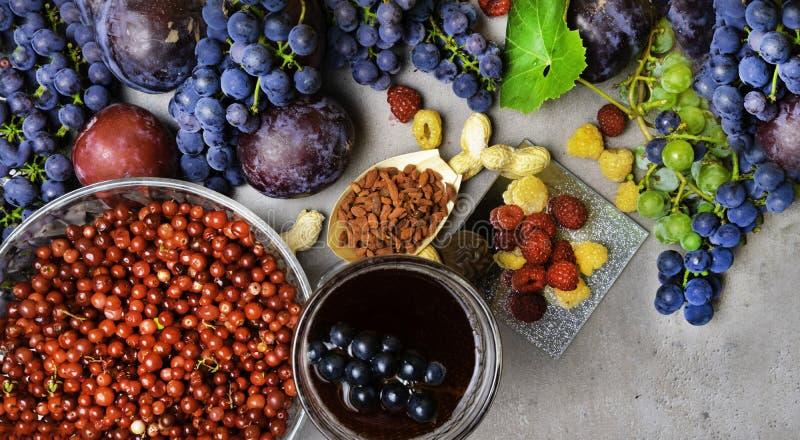 有逆转醇的食物富有,葡萄,李子, goji,花生,蔓越桔, raspberrys,黑暗的巧克力,红葡萄酒 免版税库存照片