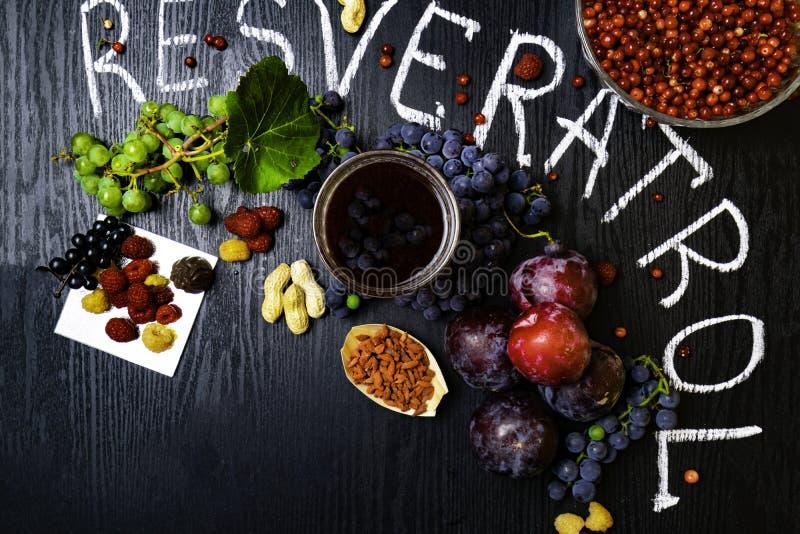 有逆转醇的食物富有,葡萄,李子, goji,花生,蔓越桔, raspberrys,黑暗的巧克力,红葡萄酒 免版税库存图片