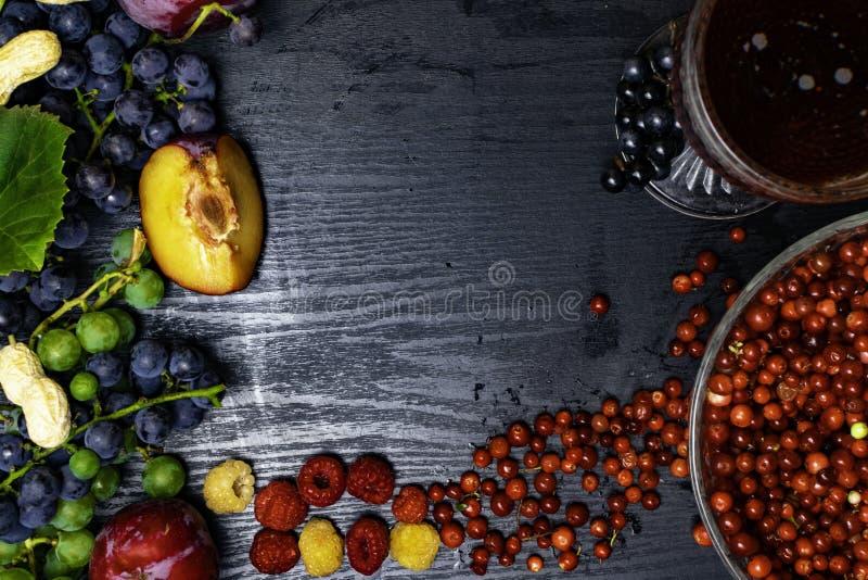 有逆转醇的食物富有,葡萄,李子, goji,花生,蔓越桔, raspberrys,黑暗的巧克力,红葡萄酒 图库摄影