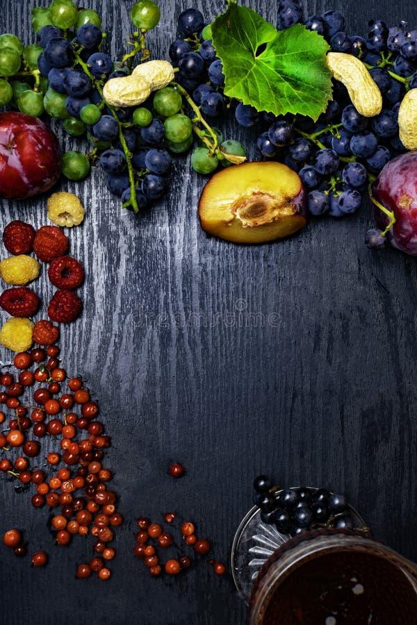 有逆转醇的食物富有,葡萄,李子, goji,花生,蔓越桔, raspberrys,黑暗的巧克力,红葡萄酒 库存图片