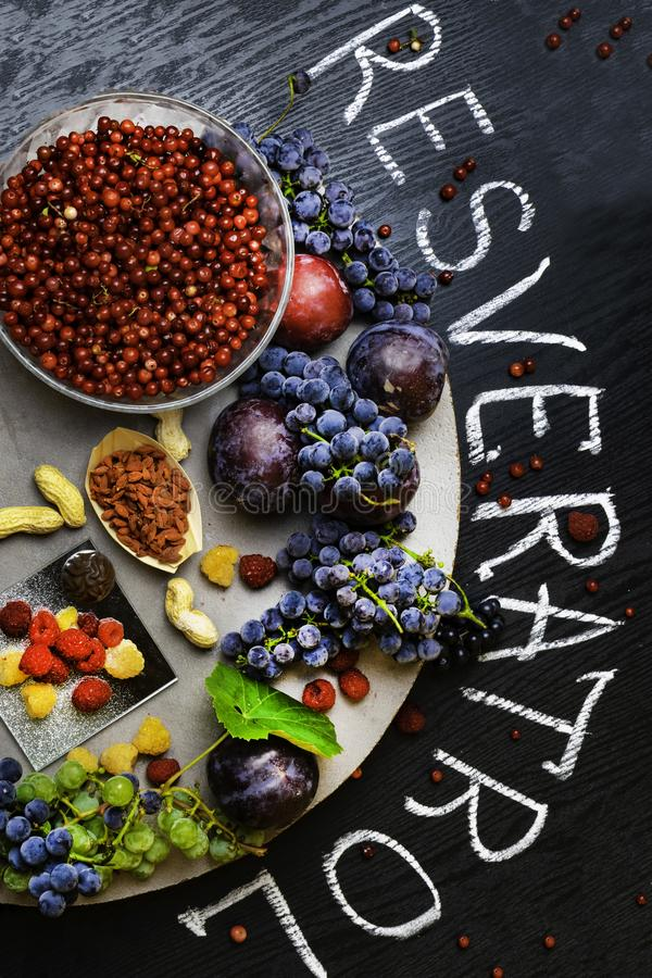 有逆转醇的食物富有,葡萄,李子, goji,花生,蔓越桔, raspberrys,黑暗的巧克力 库存照片