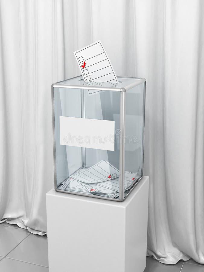 有选票的一个投票箱投票的反对白色织品背景  总统或议会选举 向量例证