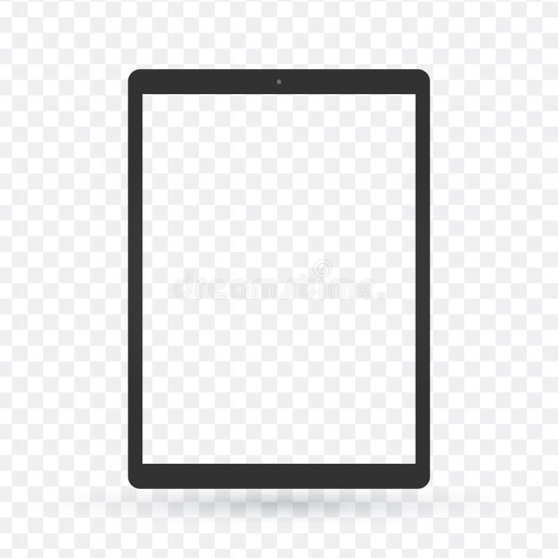 有透明屏幕的,仅框架黑片剂个人计算机 传染媒介illu 皇族释放例证