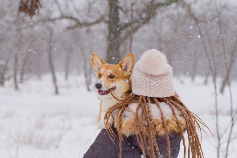 有逗人喜爱的小狗狗的妇女 库存图片