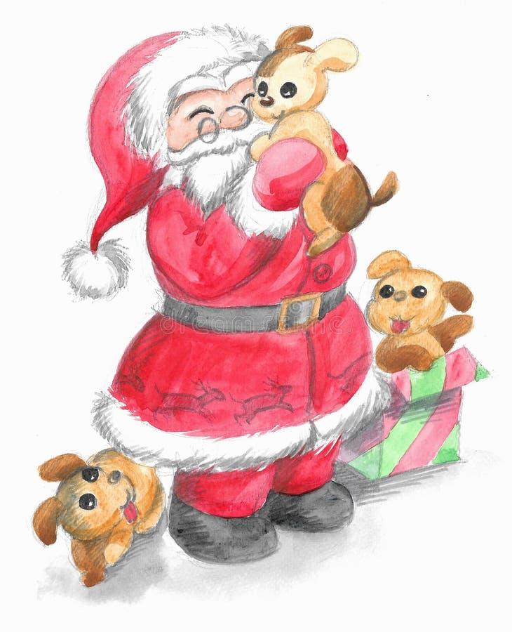 有逗人喜爱的小狗的被隔绝的圣诞老人 库存例证