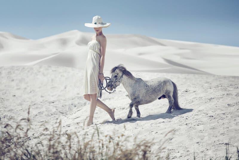 有逗人喜爱的小马的典雅的夫人 免版税库存照片
