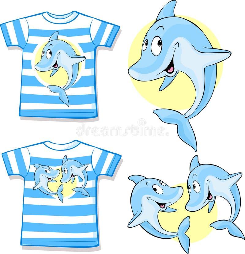 有逗人喜爱的海豚的孩子衬衣 皇族释放例证