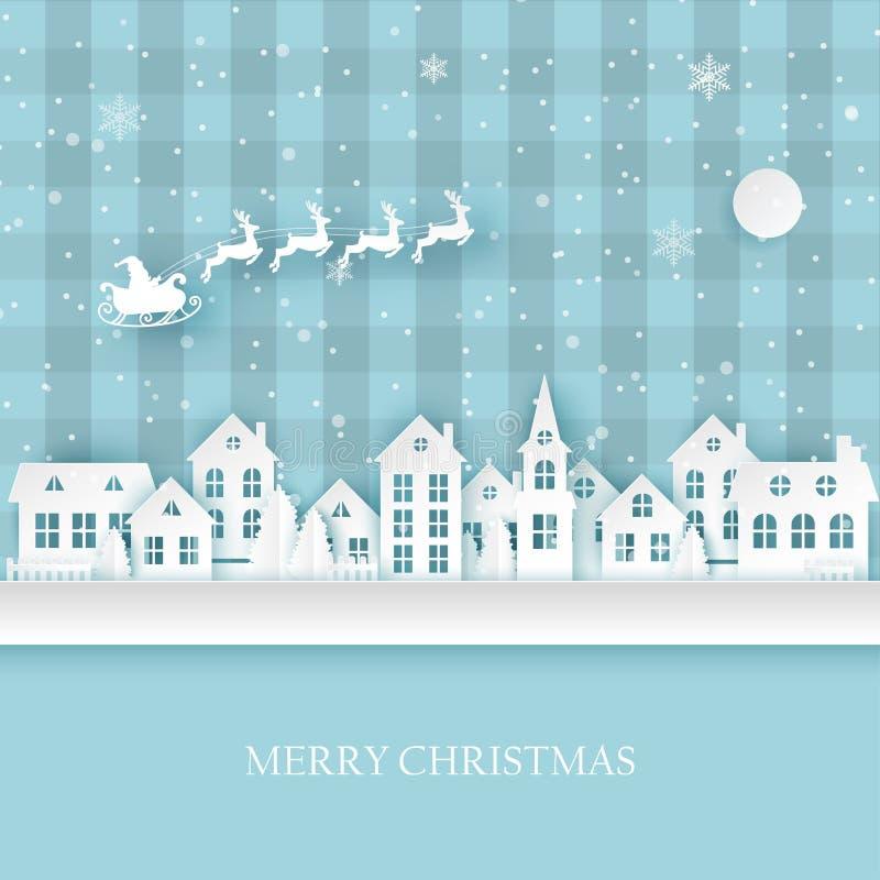 有逗人喜爱的纸房子的冬天都市乡下风景村庄 向量例证