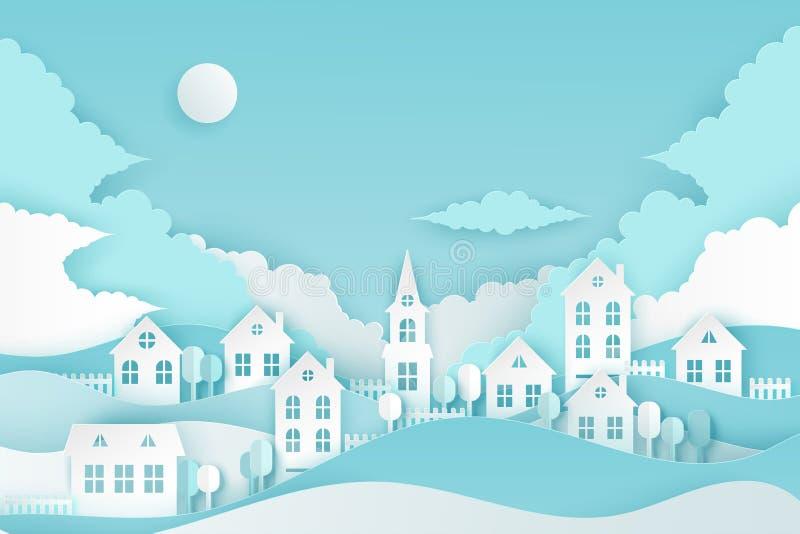 有逗人喜爱的纸房子的都市乡下风景村庄,波浪 库存例证