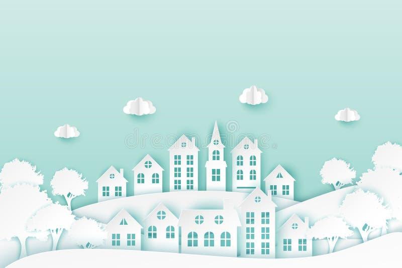 有逗人喜爱的纸房子的,树都市乡下风景村庄 皇族释放例证