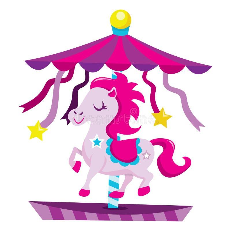 有逗人喜爱的马的超级好玩转盘 皇族释放例证