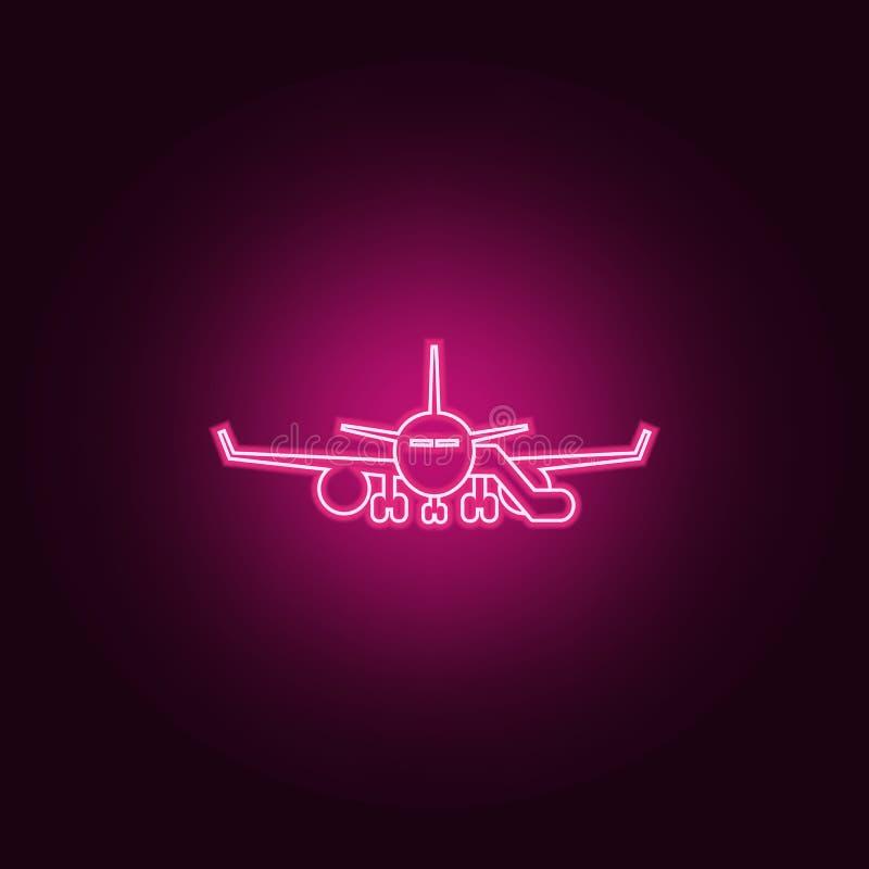 有通道象的飞机 机场的元素霓虹样式象的 网站的简单的象,网络设计,流动应用程序,信息 皇族释放例证