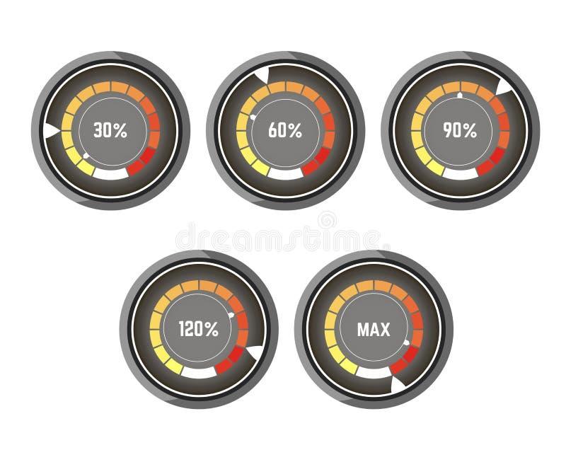 有速度增量五颜六色的显示的黑圆的车速表  皇族释放例证