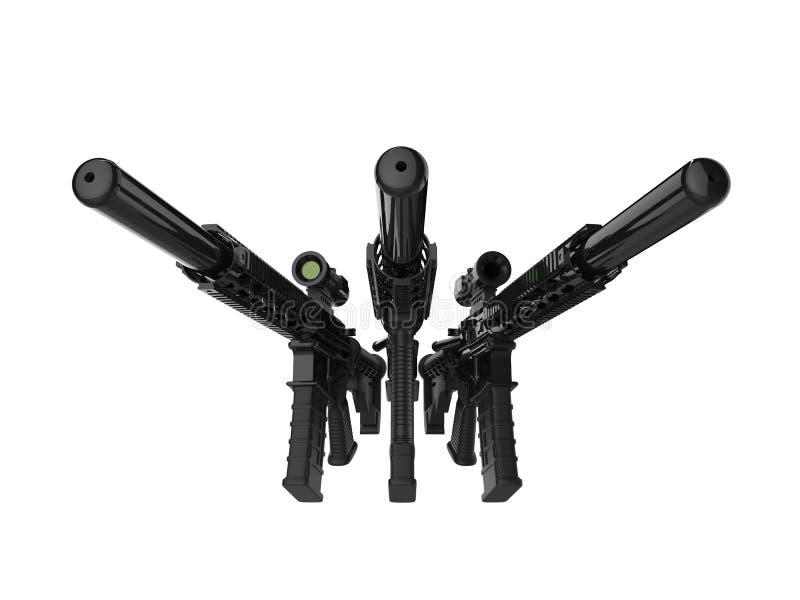 有遏声器的三杆现代攻击步枪 库存例证