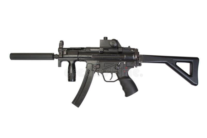 有遏声器的冲锋枪MP5 库存图片