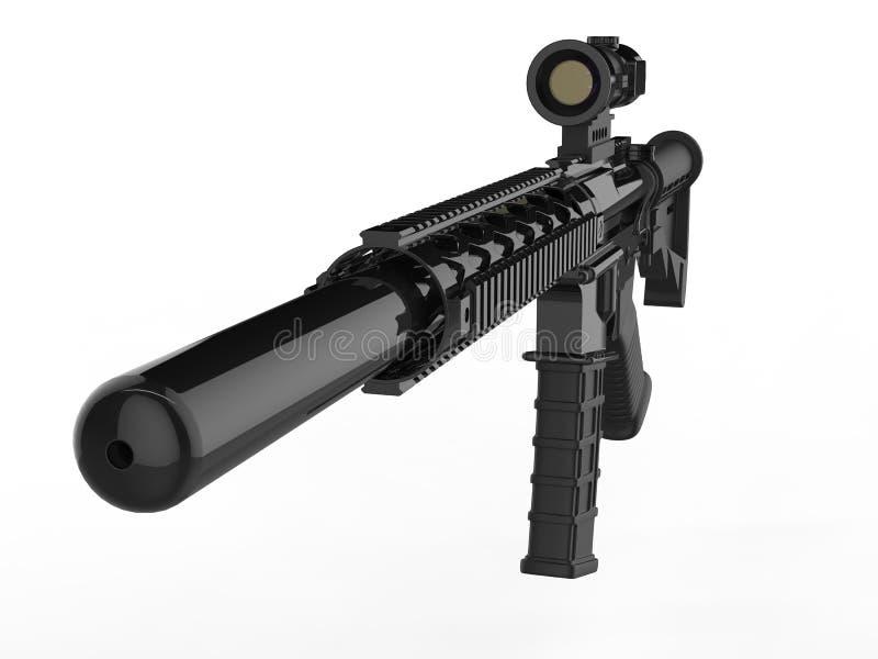 有遏声器的现代军队攻击步枪-特写镜头在遏声器射击了 皇族释放例证