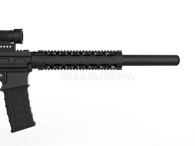 有遏声器的-在桶的特写镜头现代军队攻击步枪-侧视图 向量例证