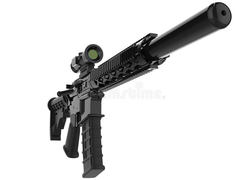 有遏声器的-特写镜头射击现代军队攻击步枪 库存例证