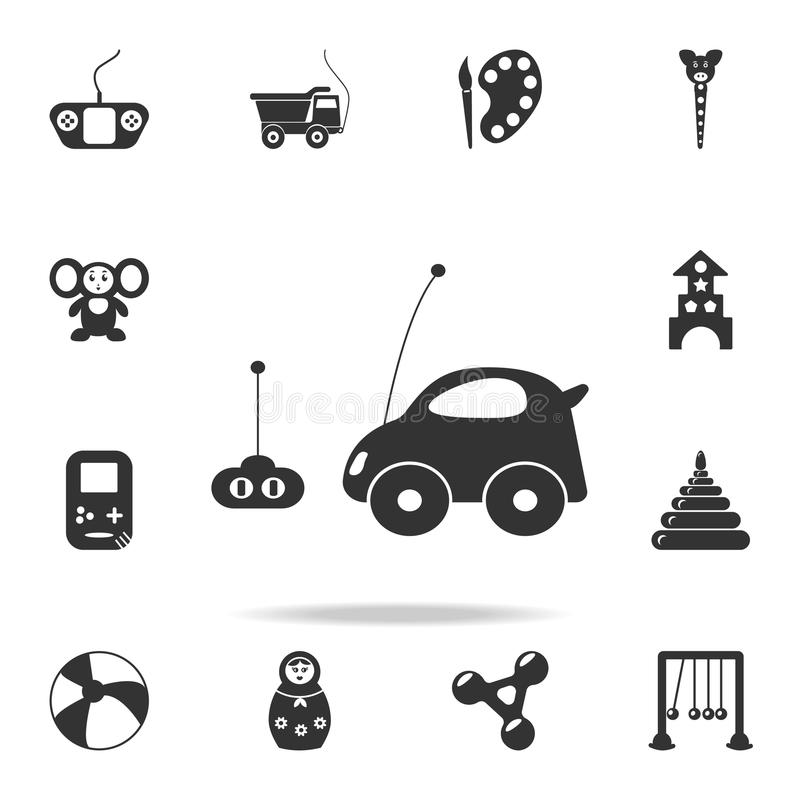 有遥控象的汽车玩具 详细的套婴孩戏弄象 优质质量图形设计 其中一个汇集象为 库存例证