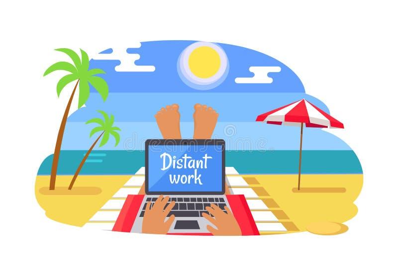 有遥远的工作的自由职业者在热带海滩 库存例证