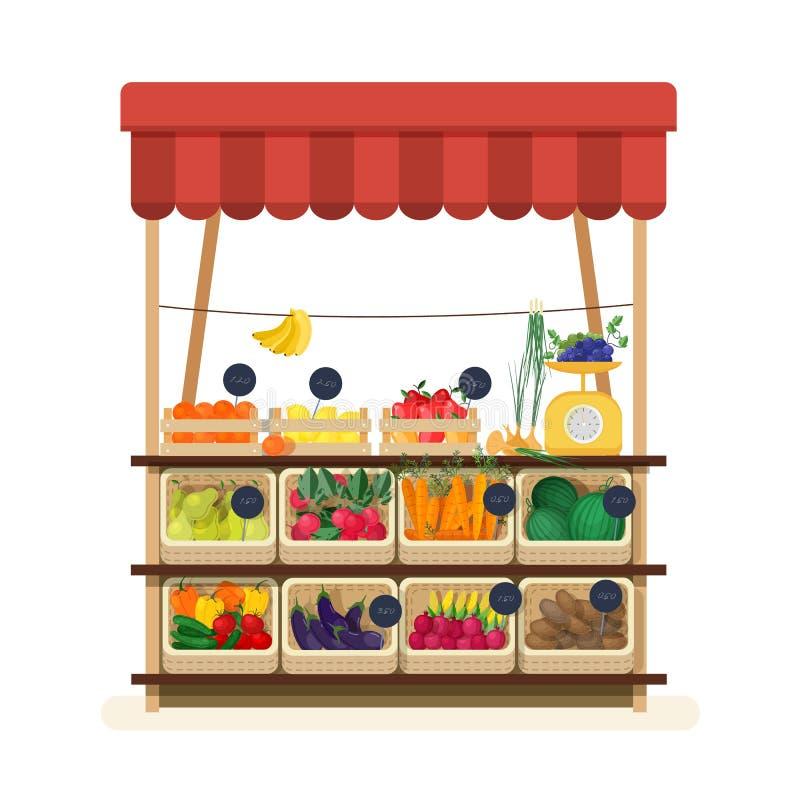 有遮篷、市场或者柜台的蔬菜水果商s商店用水果、蔬菜和价牌 卖的食物地方 向量例证