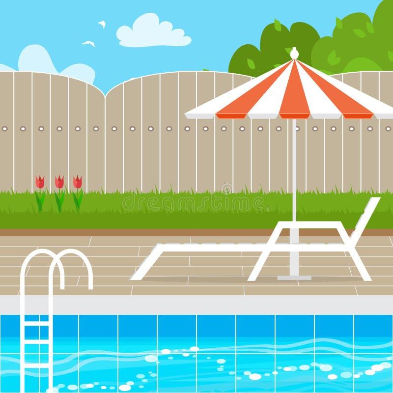 有遮阳伞伞的轻便马车休息室在游泳池附近 库存例证